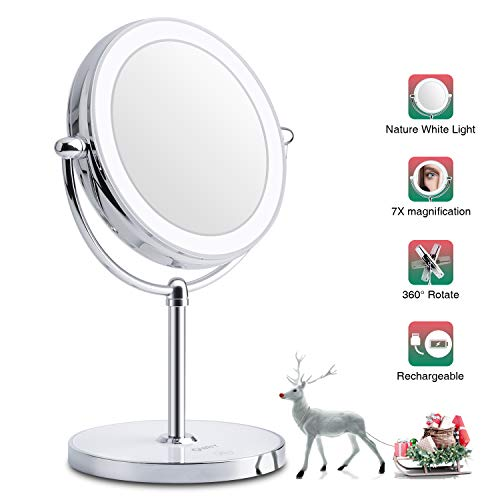 Professional Lighted Makeup Mirror with Magnification, Double-Sided 1X 7X Vanity Mirror with Nature White LED Lights, Built-in Li-on Battery for Beauty Cosmetic Applying, Rechargeable & Wireless.