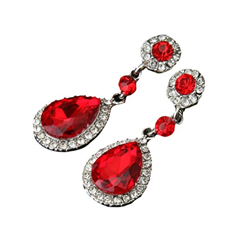 It Bangles Drop (Auwer Silver Earrings, Wedding Indian Jewelry Rhinestone Classic Style Wedding Silver Drop Crystal Earrings For Women Gift 5 Color (Red))