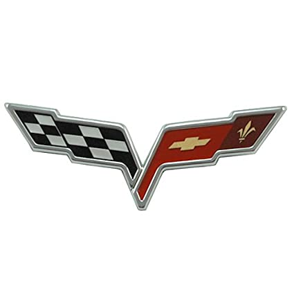 Amazon.com: 2005-2013 C6 Corvette Front Hood Crossed Flags Badge ...