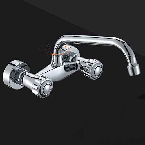 AWXJX Sink Taps Into the wall copper balcony kitchen Hot and cold Rotating ceramics Double handle Double hole