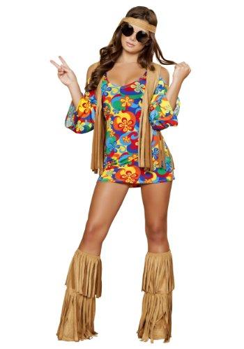 Roma Costume 3 Piece Hippie Hottie Costume, Multi/Brown, Small/Medium (Adult Hippie Costume Vest)