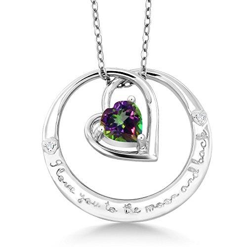 Mystic Topaz Diamond Necklace (925 Sterling Silver