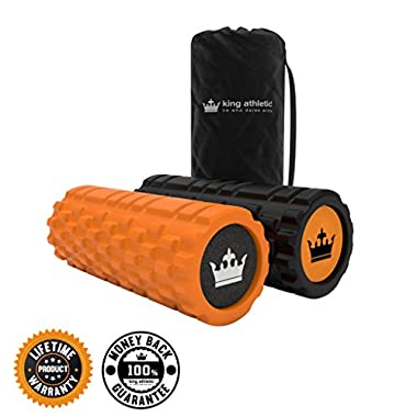 King Athletic Foam Roller Bundle with Soft Foam Roller and Carry Case (Orange)
