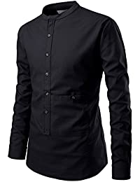 Mens Slim Cut Look Henley Neck Chinese Collar Cotton Shirts