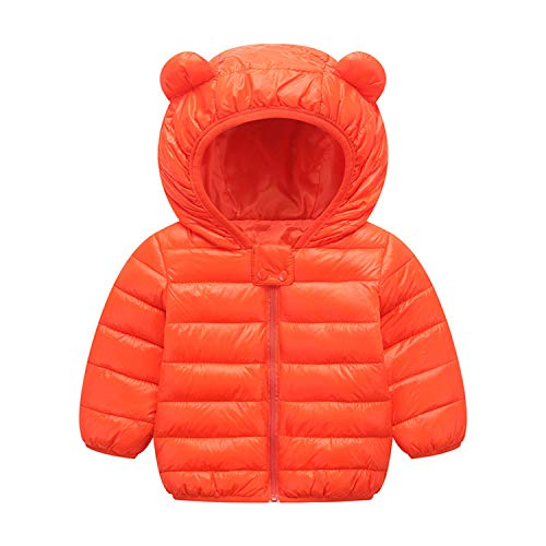 BSC007 Baby Boys Girls Winter Coats Hoods Light Puffer Down Jacket Outwear Orange ()