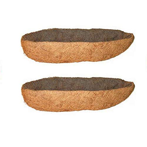 - 2 Pack Long Arc Shape Coconut Fiber Liners Replacement Planter Basket Liner for Hanging Flower Pot Balcony Wall Basket Planters