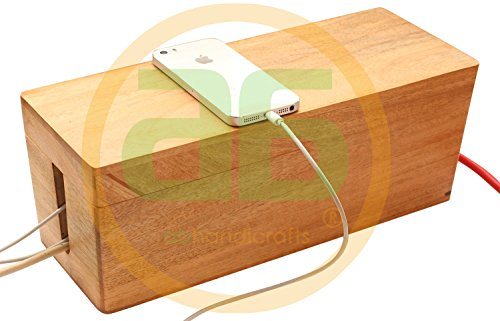 abhandicrafts Thanksgiving Christmas Day Best Gifts 13x5 Inches Wooden Large Magnetic Brown Cable Box - Computer Cord Storage Organizer Box USB Hub Hides All Wires and Surge Protectors