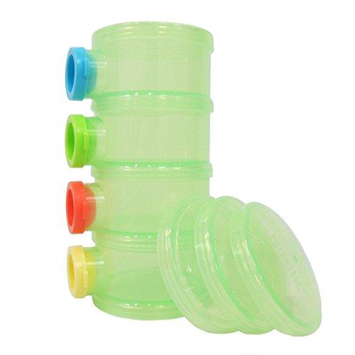 Basilic Baby Formula Dispenser / Milk Powder Container / Storage / Pot - 4 Compartment (green) (Milk Dispenser Baby compare prices)
