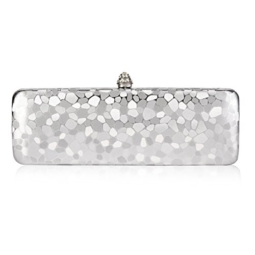 Variegation Evening Cuboid Damara Party Silver Shiny Bags Womens Hardcase zpgqt