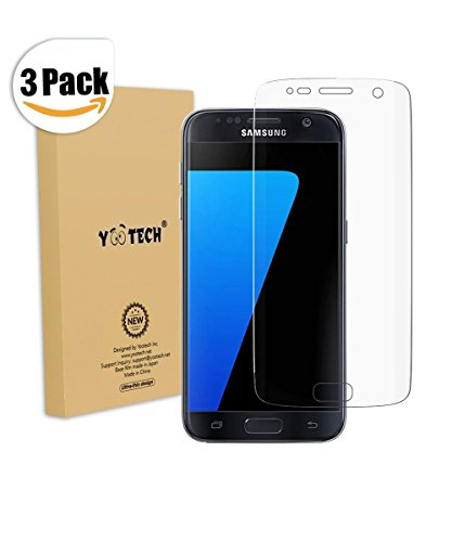 Galaxy S7 Screen Protector [Full Coverage] ,Yootech [3-Pack] [Anti-Bubble] [HD Clear Film] Curved Edge to Edge Screen Protector for Samsung Galaxy S7,