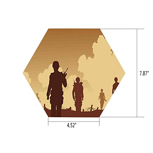 Hexagon Wall Sticker,Mural Decal,War Home Decor,Soldier Shadows with Military Costumes and Weapons Walking on Patrol Print,Brown Cream,for Home Decor 4.52x7.87 10 Pcs/Set