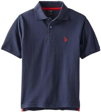 U.S. Polo Assn. Big Boys' Solid Pique Polo, Navy/Red, 10/12