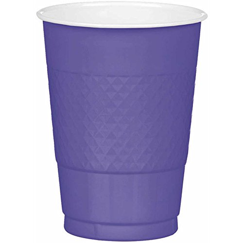 Amscan Party Ready Reusable Plastic Cups (20 Piece), Purple, 3.7 x 3.7