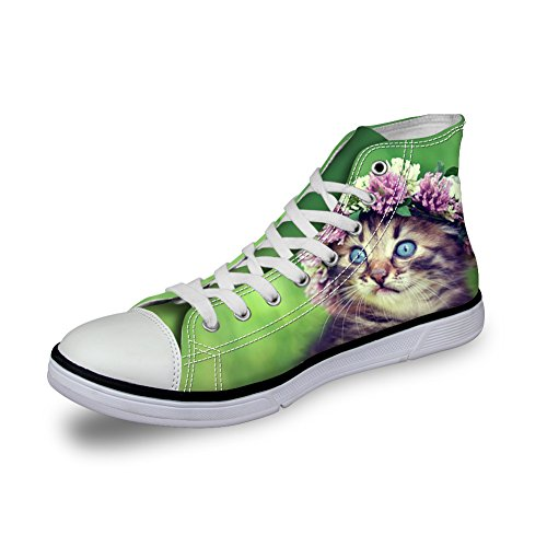 Para U Diseños Cute Animal Cat Sneakers Para Mujer High Top College Girls Canvas Zapatos Antideslizante Cat-10