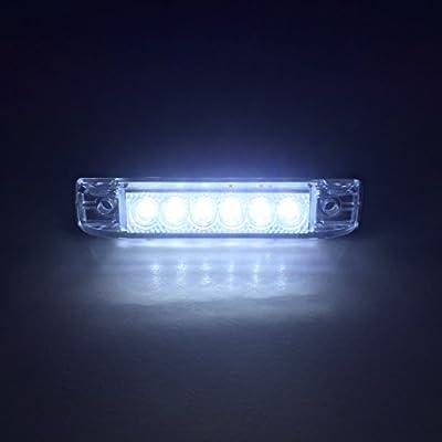 "LONG HAUL BRIGHT CLEAR WHITE LED SLIM LINE LED 12V 12 VOLT UTILITY STRIP LIGHT 6 LEDS 4""x1"" RVS MARINE BOATS"