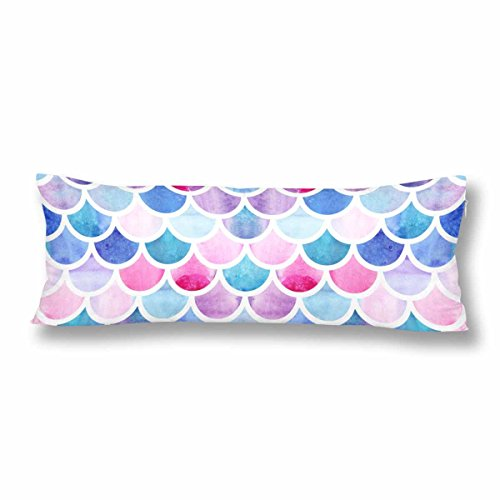 InterestPrint Mermaid Scales Body Pillow Covers Pillowcase with Zipper 21x60 Twin Sides, Watercolor Fish Scales Rectangle Body Pillow Case Protector for Home Couch Sofa Bedding Decorative