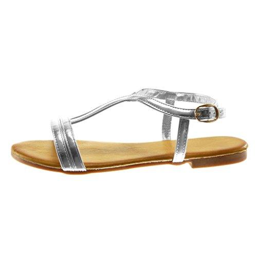 Angkorly Damen Schuhe Sandalen - T-Spange - Knöchelriemen - String Tanga Blockabsatz 1.5 cm Silber