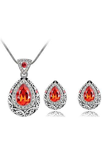 SODIAL(R) Women's Crystal Rhinestone Drop Style Pendant Necklace Chain Plus earrings Orange ()
