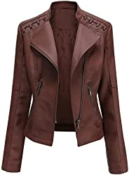 Turn-Down Collar PU Faux Leather Jackets Women Luxury Jacket Black Pink Red Biker Coat
