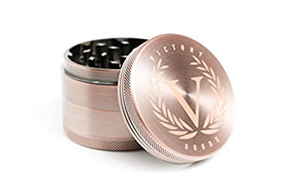 "Victory Goods Herb Grinder (2.5"") - 4-Piece Aluminum Metal Grinder for Fine, Consistent Cuts - Neodymium Magnets Provide Secure Closure and Preserve Freshness - Includes Carrying Pouch and 2 Scrapers by Victory Goods"
