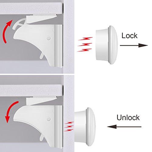 Baby Safety Magnetic Cabinet Lock Set HURRISE Child Safety Locks Kids Toddler Proofing Hidden Cupboard Drawer Locking System No Drilling & Screws (16 Locks & 3 Keys) by HURRISE (Image #3)