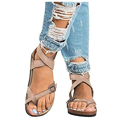 (Liyuandian Womens Cross Toe Double Buckle Strap Summer Leather Flat Mayari Sandals (9 US-10.58in(Foot Length)-40 EU, B-beige))