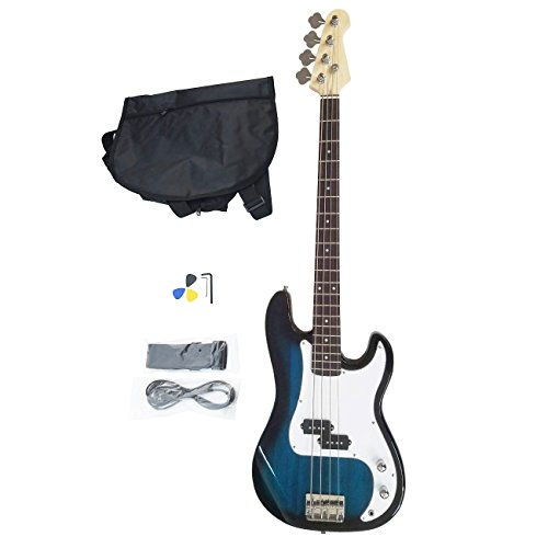 Enyon Full Size Electric Bass Guitar 4 Strings with Amp Cord Strap Bag Package for Starter Beginners Black (Blue)