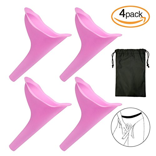 Landteek Female Urination Device Travel Camping Outdoor Standing Pee Reusable Urinal Women Funnel Portable Urine Urinary 4 PCS