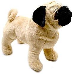 11.8'' Standing Farting Pug Dog Plush Stuffed Animal Toy Alaskan Malamute Corgi Plush Bulldog Dog Toys (11.8 inch (28-30CM), Pug)