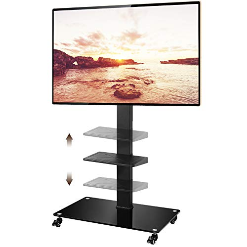 TAVR Tall Rolling Moblile Floor TV Stand Cart with Mount Lockable Caster Wheels and Audio Shelf for 37 40 42 47 50 55 60 65 70 inch LCD LED OLED - Entertainment Mobile