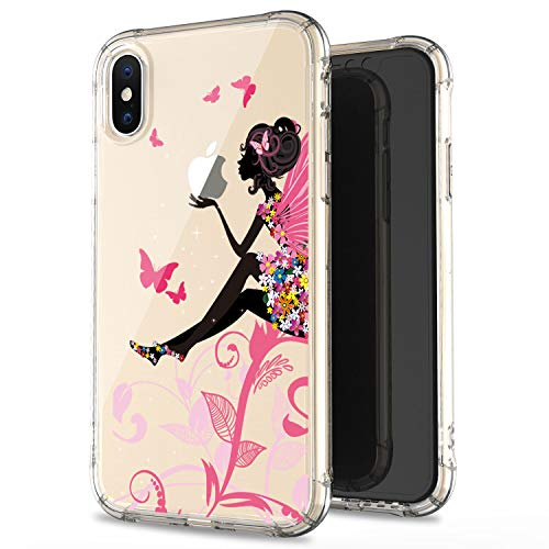 JAHOLAN Clear Case Cute Purple Flower Girl Soft Bumper TPU Rubber Silicone Cover Phone Case for iPhone X/iPhone Xs 5.8 inch