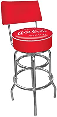 Coca-Cola Delicious Refreshing Padded Swivel Bar Stool with Back Trademark Gameroom coke-1100-v3