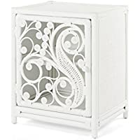 KOUBOO 1110037 Peacock Nightstand Rattan One Door Opening Right Color, Medium, White