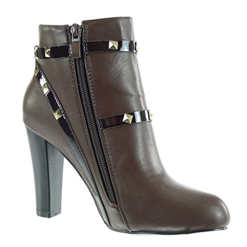 Angkorly - damen Schuhe Stiefeletten - Sexy - Nieten - besetzt - Schleife - golden Blockabsatz high heel 9.5 CM Braun