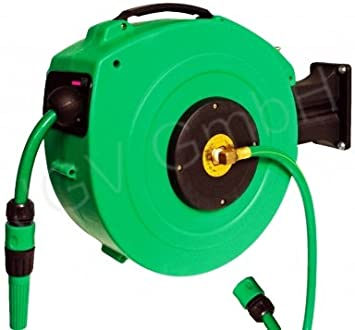 Profesional Automático Agua Manguera carga 25 metros verde con soporte de pared automática Muelle Tren – Enrollador
