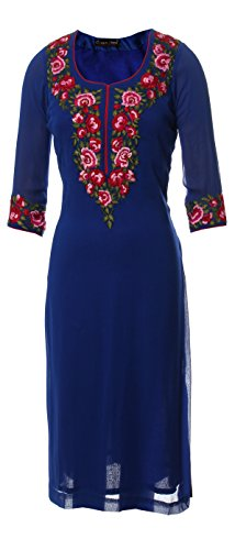 AzraJamil-Candid-Royal-Blue-Georgette-Embroidered-Kurta-Royal-Blue