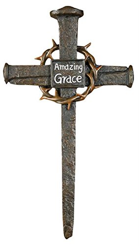 "Price comparison product image CC Home Furnishings Brown Inspirational Nail and Thorn Amazing Grace Cross Shaped Wall Decor 7.75"" x 13.75"" x 1"""