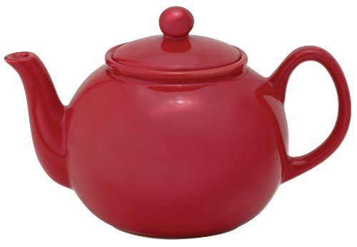 (HIC Teapot with Stainless Steel Infuser, Ceramic Stoneware, Rose, 6-Cup, 32-Ounce Capacity)