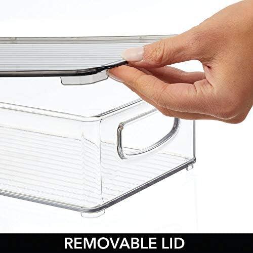 vitamine Vaschette per alimenti Contenitori cibo impilabili adatti per frigo e freezer biscotti trasparente spezie t/è mDesign Set da 2 Contenitori in plastica con coperchio