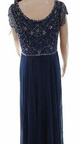 J Kara Navy Beaded Women's Petite Sequin Gown Blue 6P