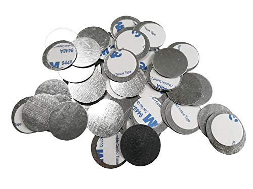 TUOKING 50pcs Round Metal Stickers for Non-Magnetic Eyeshadow Pan Use with Magnetic Makeup Palette (Diameter 2.5cm)