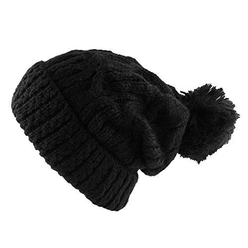 Morehats Large Pom Pom Soft Crochet Thick Knit Slouchy Beanie Winter Ski Hat - Black