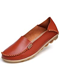 IRuis Women's Genuine Leather Loafers Casual Moccasin Driving Shoes Indoor Slip-on Flats