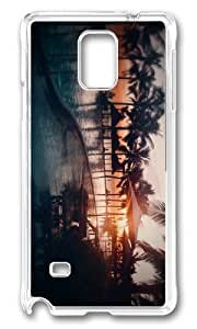 MOKSHOP Adorable beach resort sunset Hard Case Protective Shell Cell Phone Cover For Samsung Galaxy Note 4 - PC Transparent