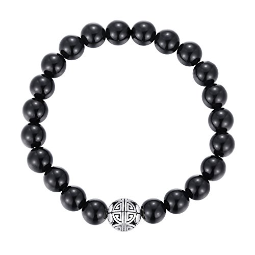 Natural 8mm Gorgeous Men Women Semi-Precious Gemstones Healing Crystal Stretch Beaded Bracelet Unisex Bangle with 925 Sterling Silver Double Happiness Pendant (Black Agate) - Double Happiness Jewelry