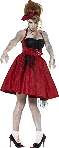 Smiffy's Women's Zombie 50's Rockabilly Costume, Dress with Latex Rib and Headband, Zombie Alley, Halloween, Size 6-8, (Zombie Women)