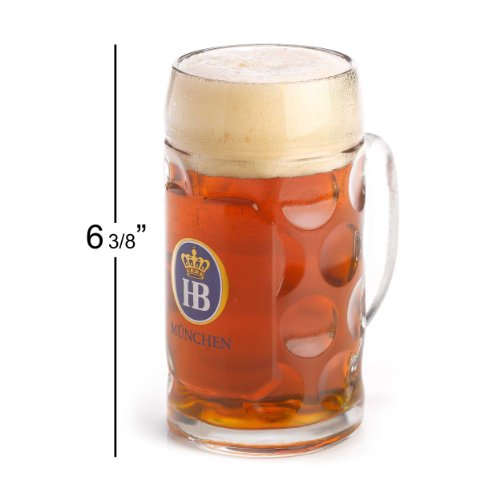 1 X 0.5 Liter HB Hofbrauhaus Munchen Dimpled Glass Beer (Hofbrauhaus Beer Stein)