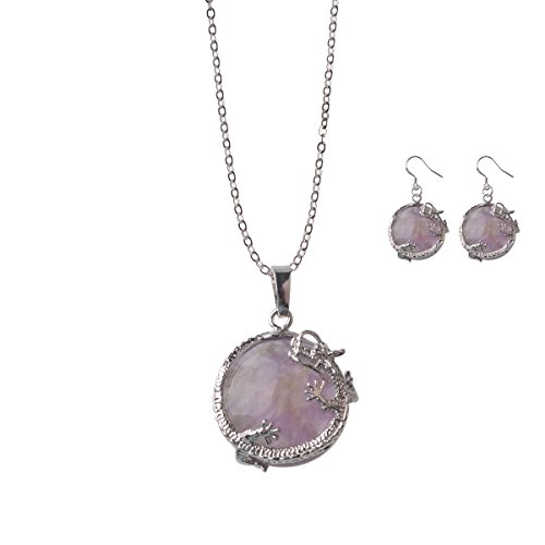 Semi-precious Gemstone Dragon Wrap Pendant Necklace with Stainless steel necklace(Gift Earring)