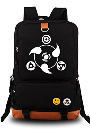 - Gumstyle Anime Naruto Luminous Large Capacity School Bag Cosplay Backpack Black and Blue