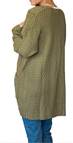 Largo Talla Tejido Cardiga Grande Largas Mujer Cardigan Mangas Bolsillo Casual Verde Chaqueta De Yogly Punto gqXA7pxzwv